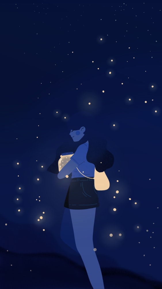 Girl standing in a twilight field holding an open jar of fireflies