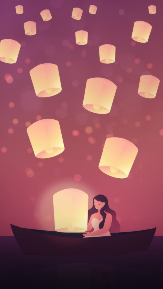 Woman sitting in a rowboat surrounded by lanterns floating in the air