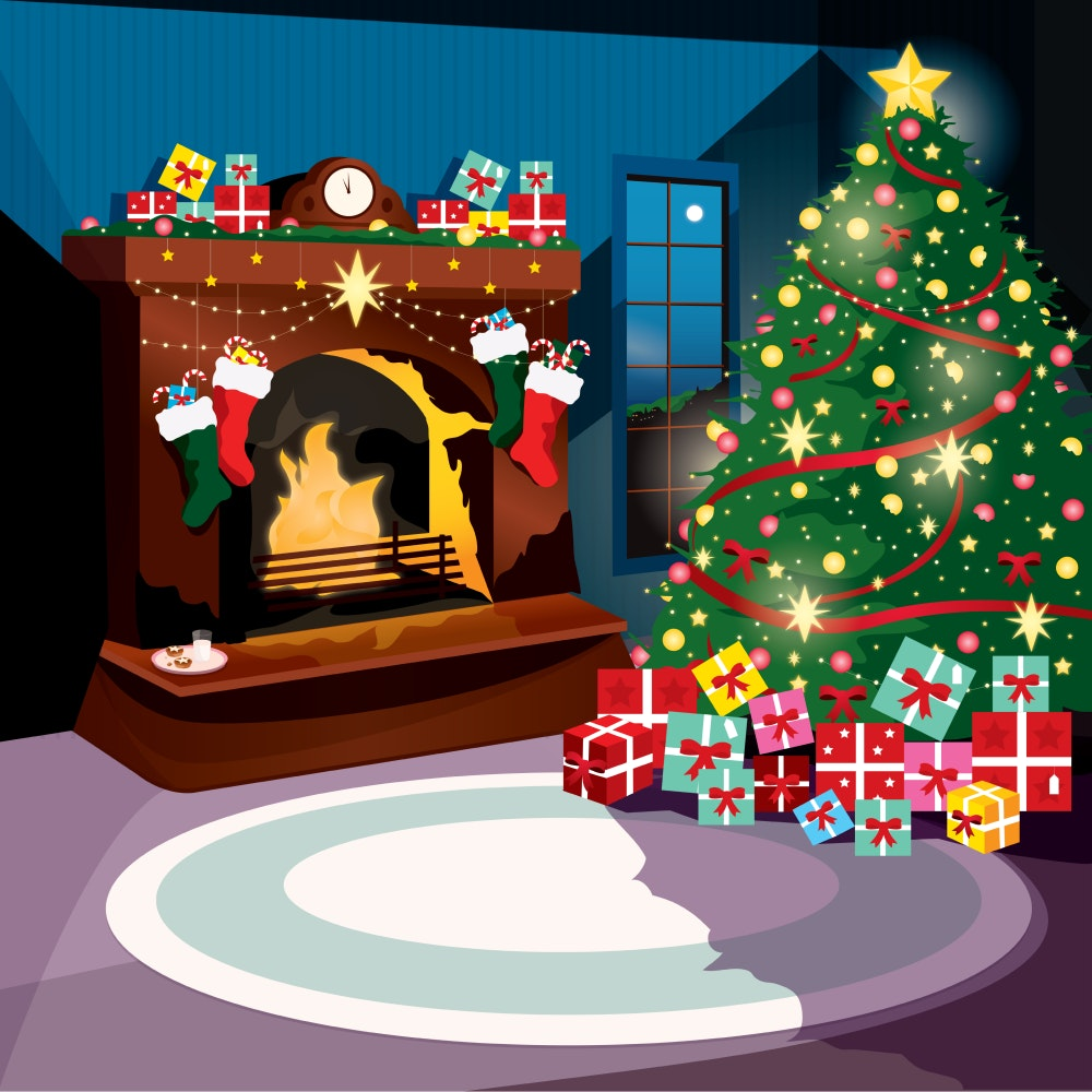 A Christmas tree, decorations, and presents in a cosy family room with a fire going