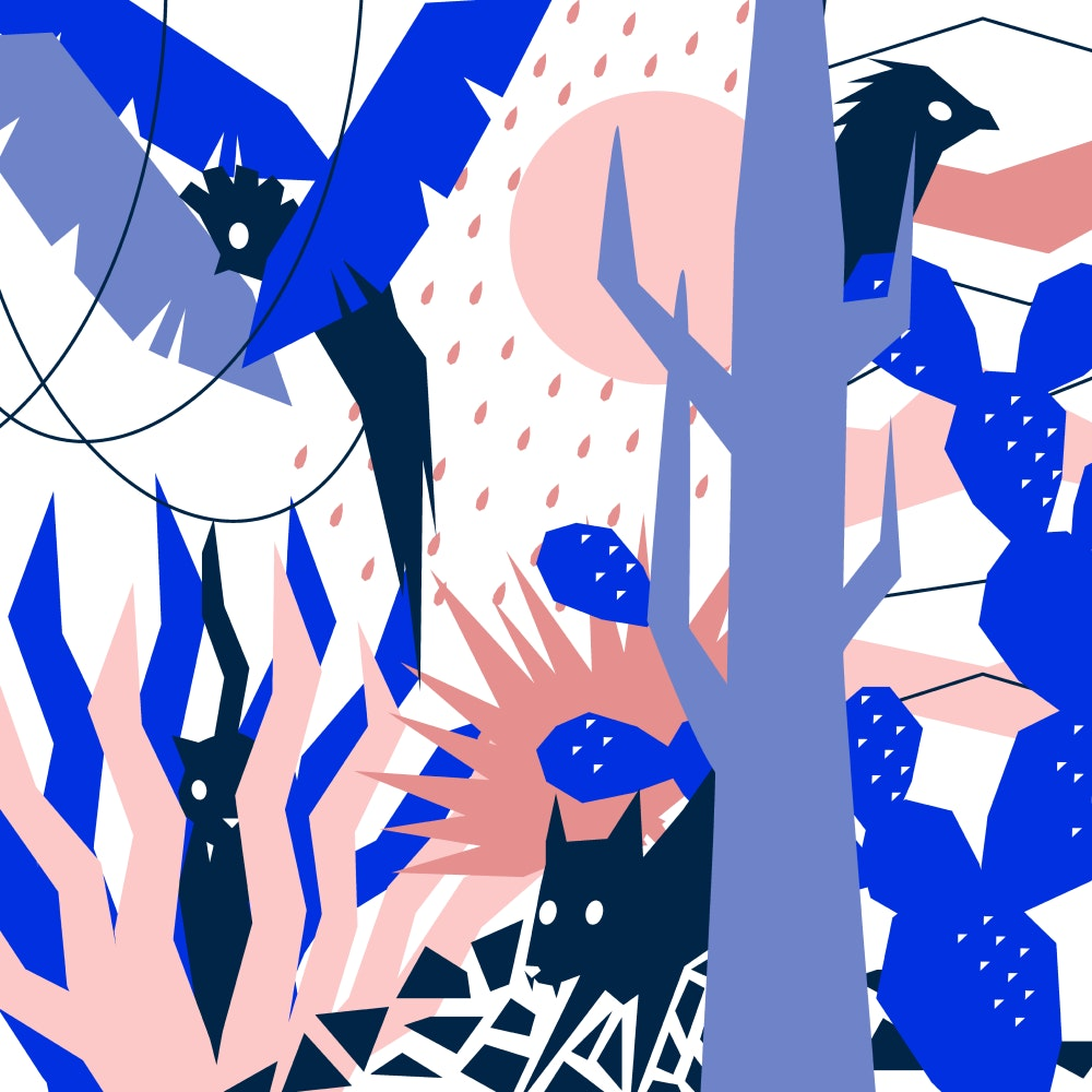 Animals hiding in the jungle
