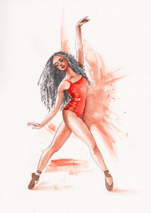 Ballerina dancing in a red leotard