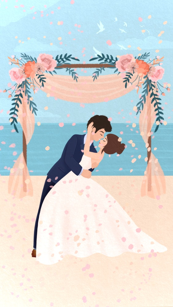 Bride and Groom embracing on their wedding day at the beach.
