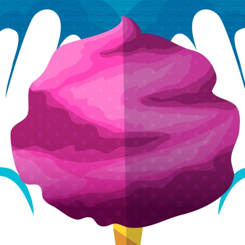 Bright pink cotton candy held between cupped hands