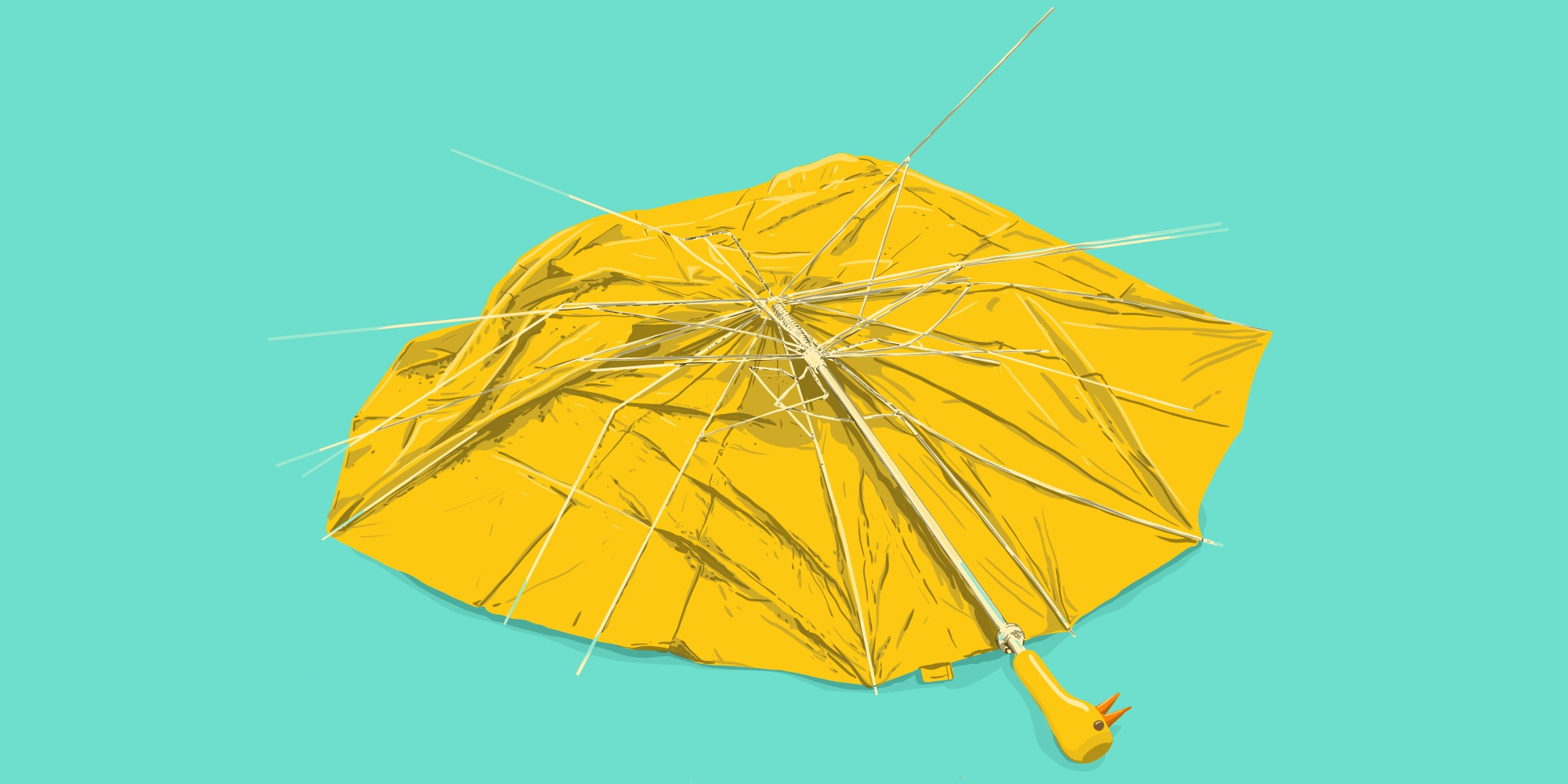 Broken umbrella in the rain