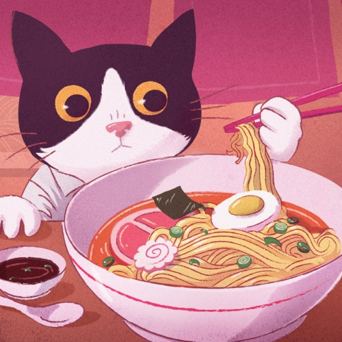 Cat using chopsticks to eat a bowl of ramen