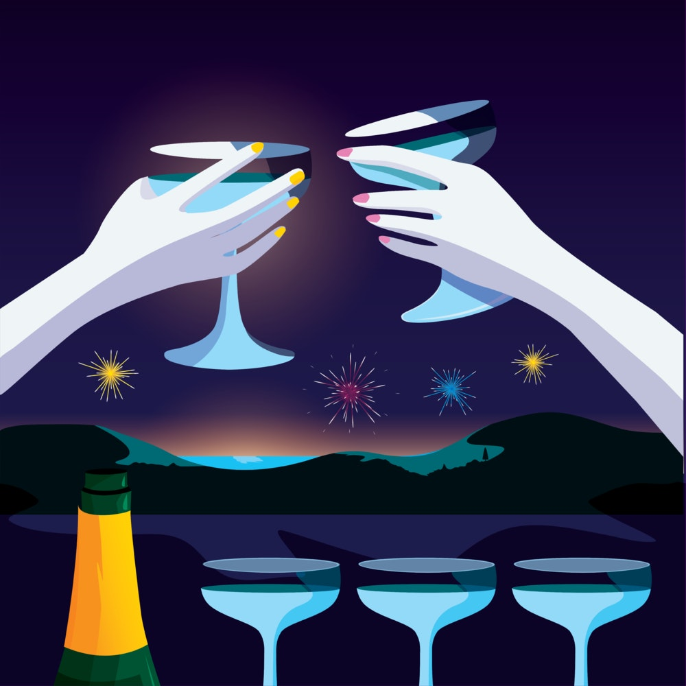 Champagne toast with fireworks in the background