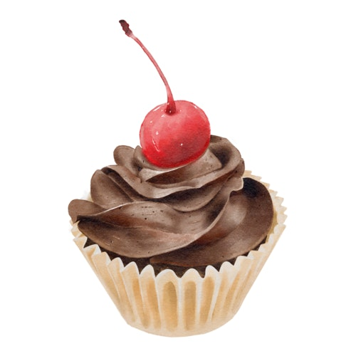 Chocolate cupcake with a cherry on top