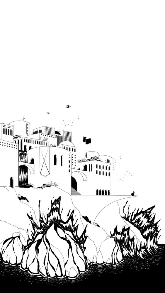 City set on a hill above a wild ocean