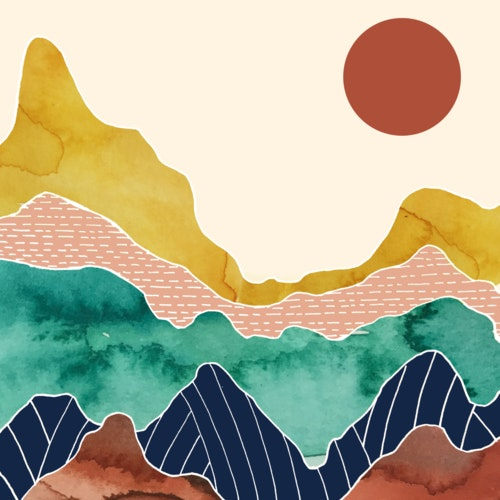 Colorful mountain range under a bright sun