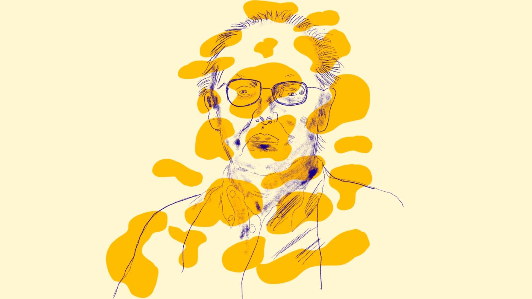 Concerned man wearing glasses