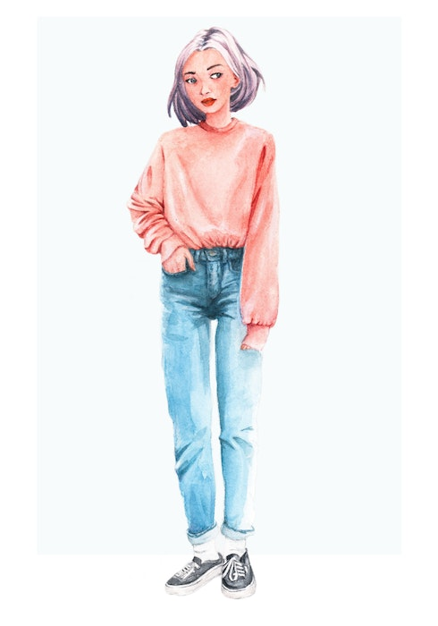 Contemporary girl wearing jeans and a pink sweatshirt