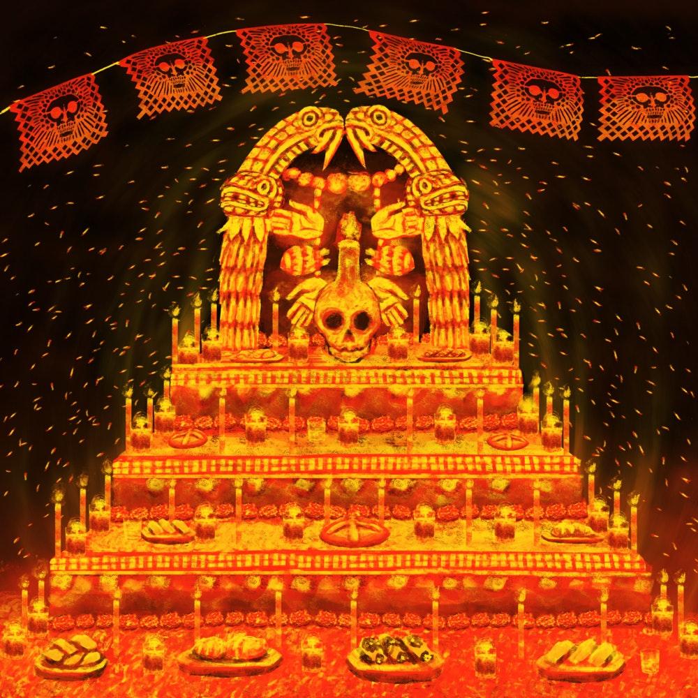 Día de Muertos altar honoring the Mexica-Aztec goddess, Coatlicue