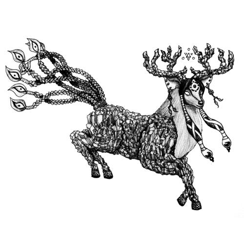 Decorative, prancing deer