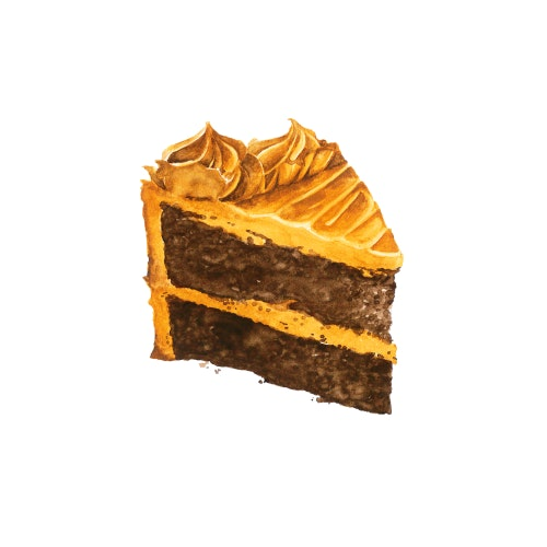 Delicious slice of chocolate cake with caramel icing