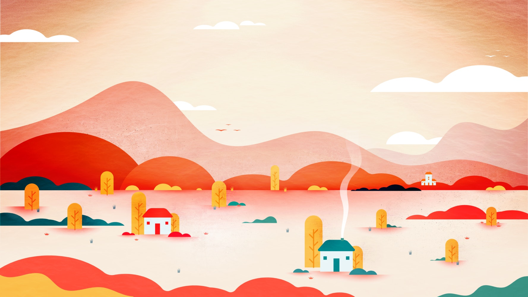 Desert and mountain landscape dotted with houses and cactus