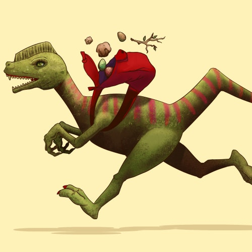 Dinosaur running fast while wearing a backpack