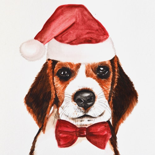 Dog wearing a Santa hat and red bow tie