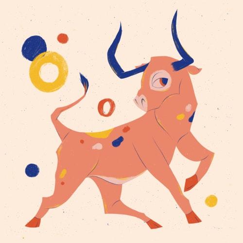 Festive, prancing bull