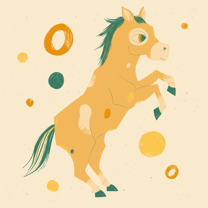 Festive, rearing horse