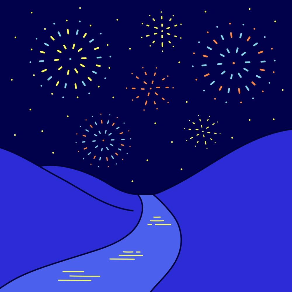 Fireworks lighting up the night sky