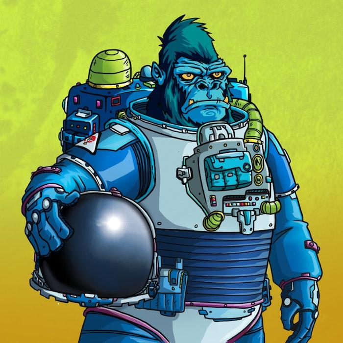 Futuristic gorilla in a metal suit, holding a helmet