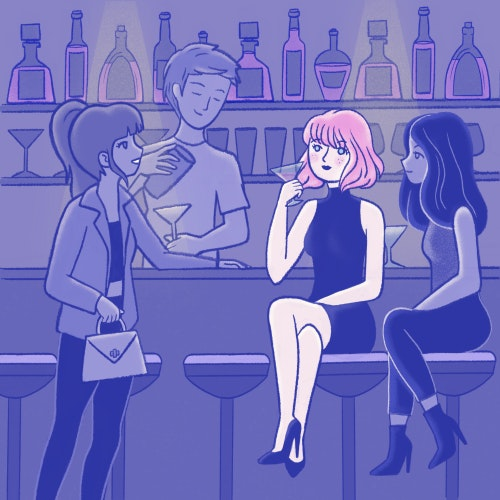 Girl meeting her friends at a city bar for drinks at night