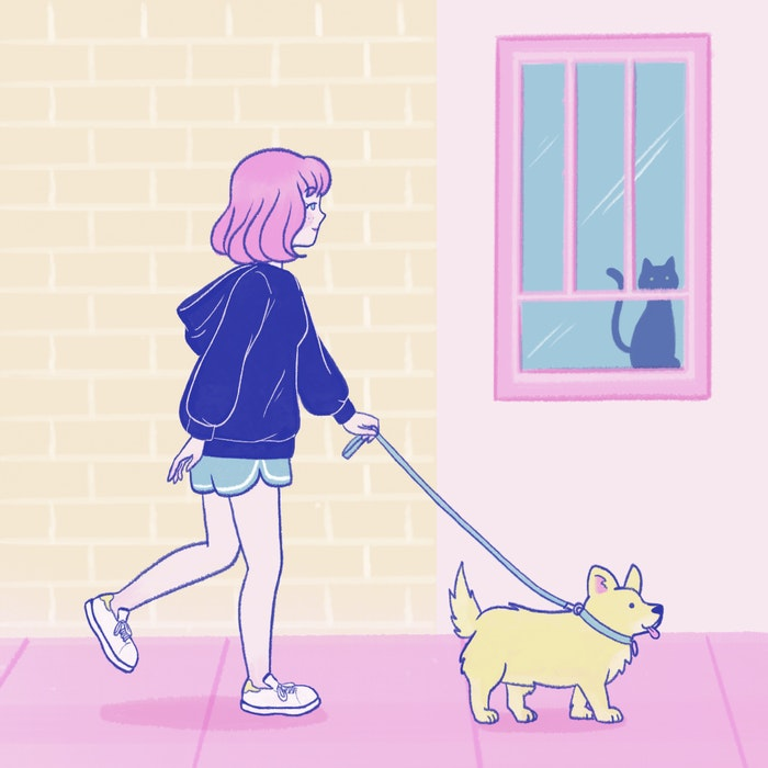 Girl taking her dog for a walk in the morning
