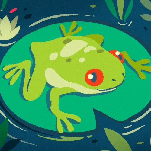 Green Frog floating on a lily pad