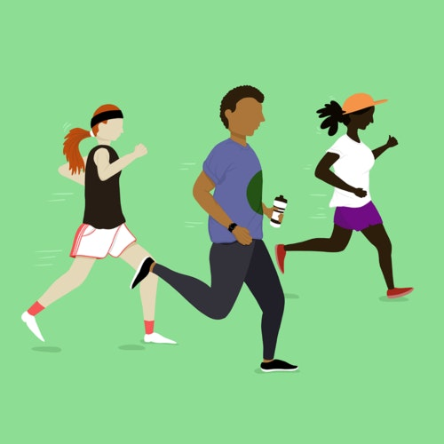 Group of three people jogging together