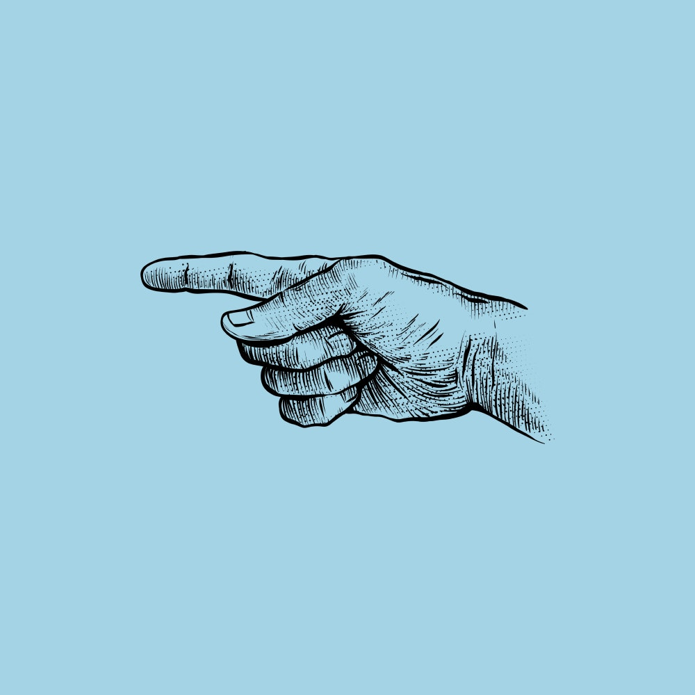 Hand with index finger pointing to the left