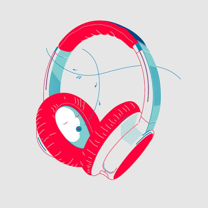Headphones playing music