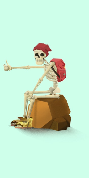 Hitchhiking skeleton sitting on a rock