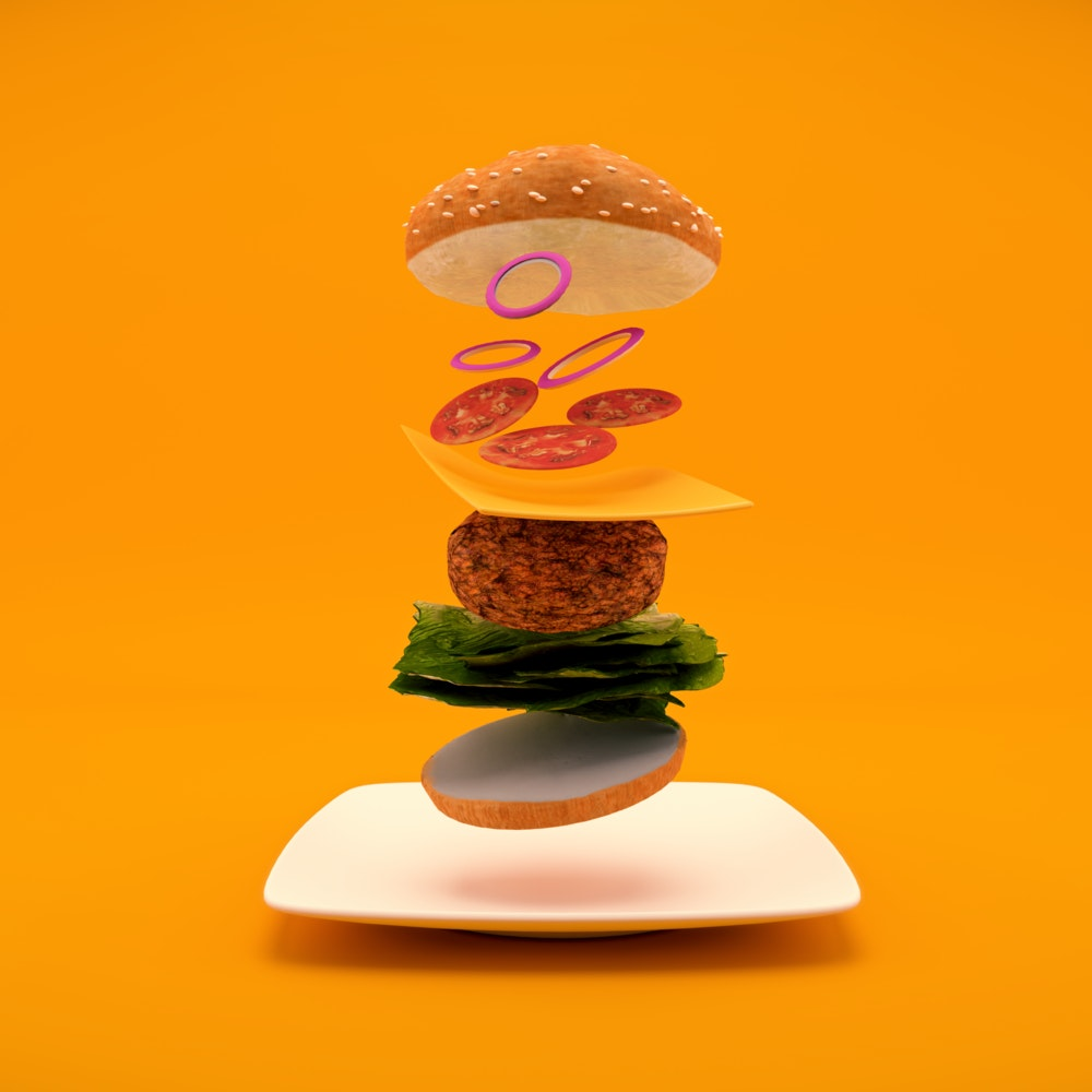 Isolated ingredients of a cheeseburger