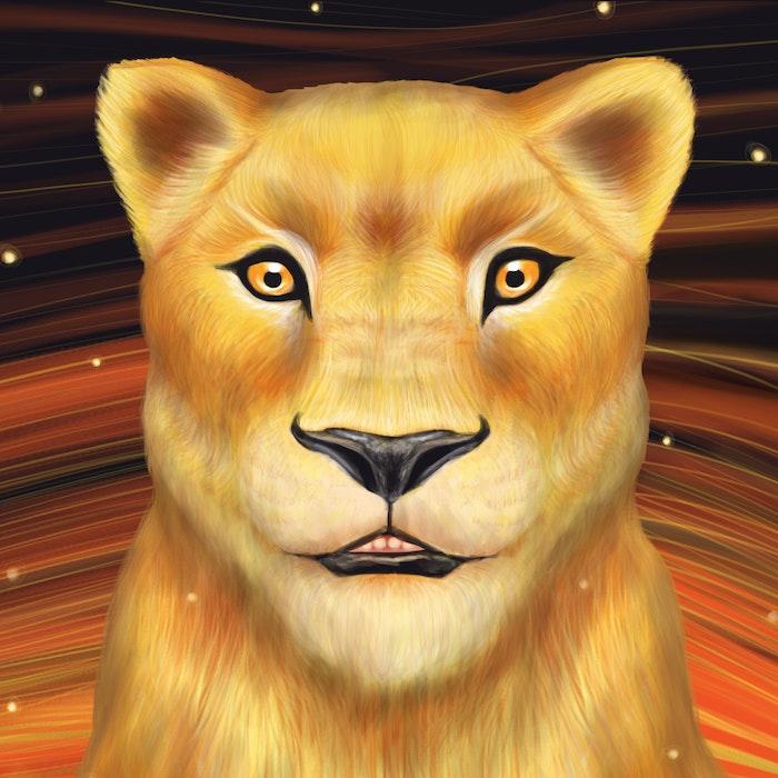 Lioness illuminated by stars