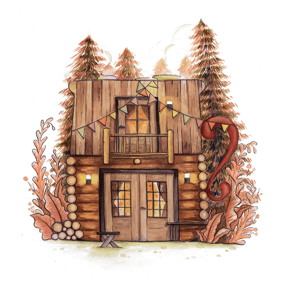 Log cabin house surrounded by fir trees