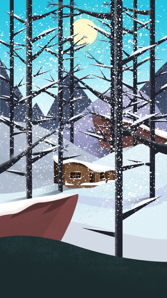 Log cabin in a snowy forest