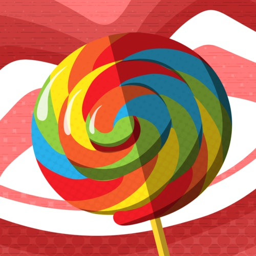 Lollipop framed by a pair of red lips