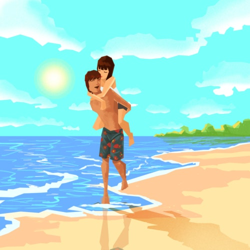 Man piggybacking a woman at the beach on a sunny day