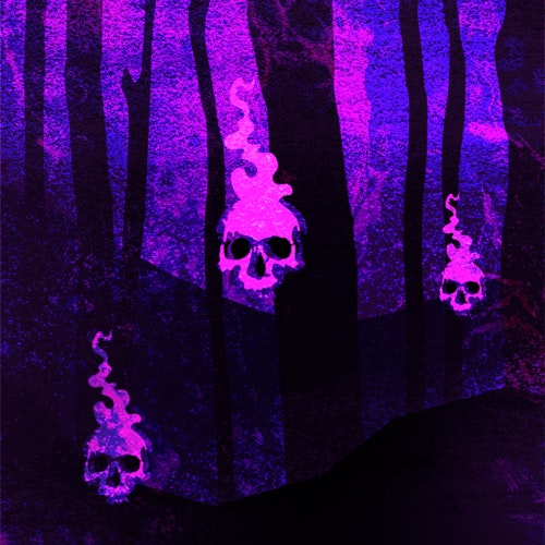 Menacing skulls in a haunted forest
