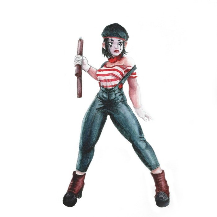 Mime in costume including painted face and beret