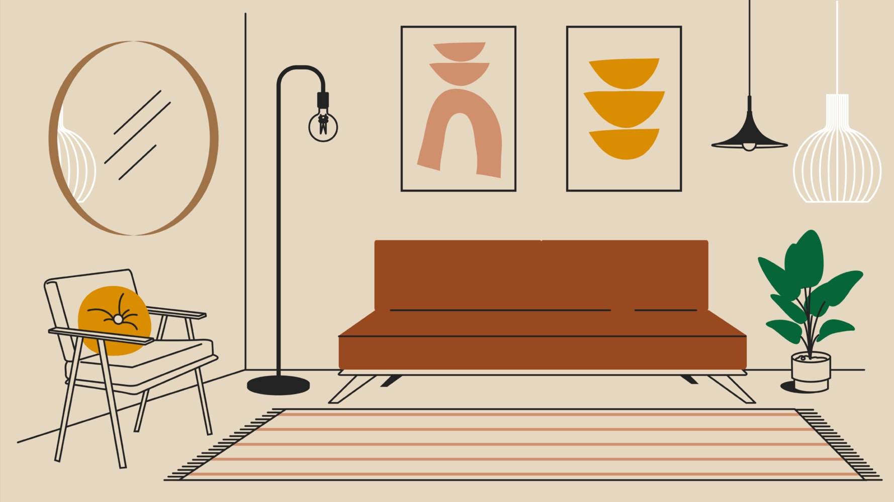 Minimalist living room furniture including a contemporary couch, floor lamp, and arm chair