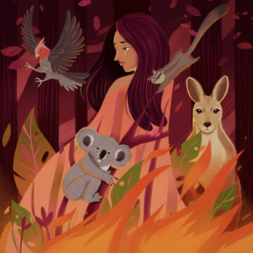 Mother Nature figure crying with Australian animals including a Koala and a Kangaroo during the bushfires