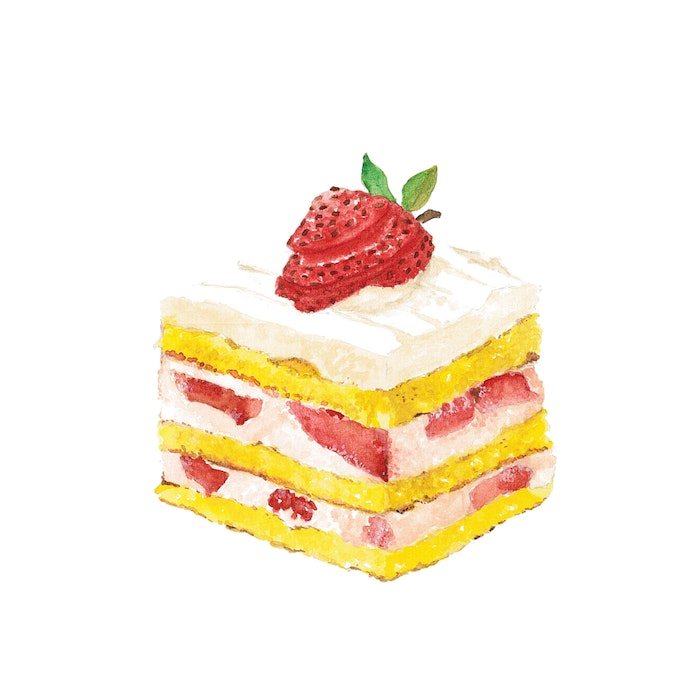 Mouth-watering piece of strawberry shortcake