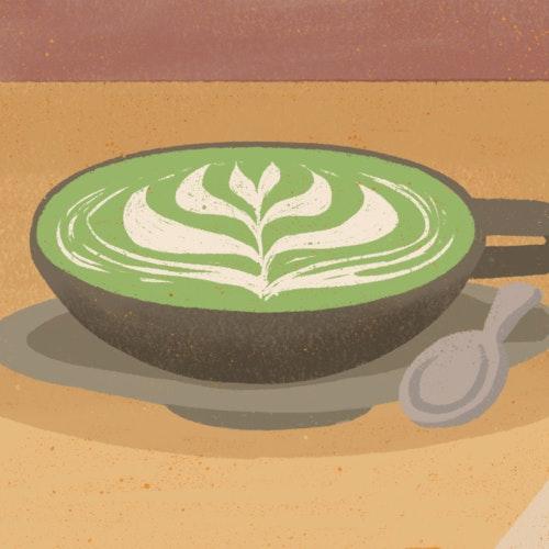 Mug of matcha tea