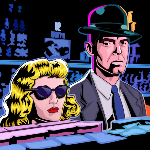 Noir image of a man in a suit next to a woman in dark sunglasses