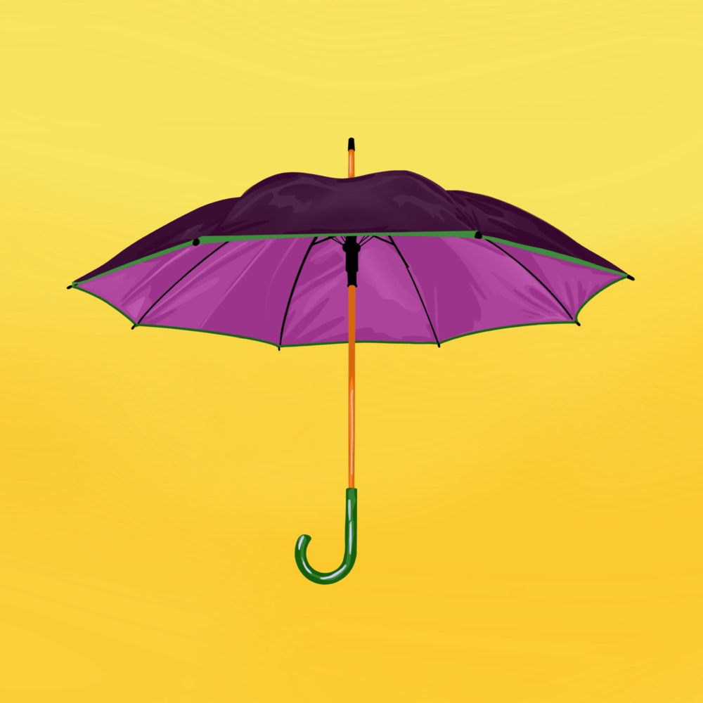 Open umbrella on a bright background