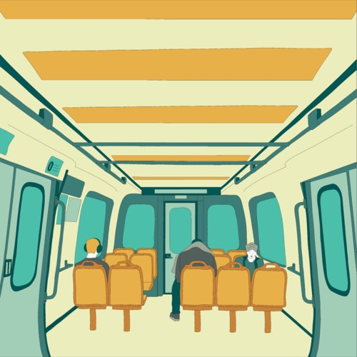 People sitting on a city train