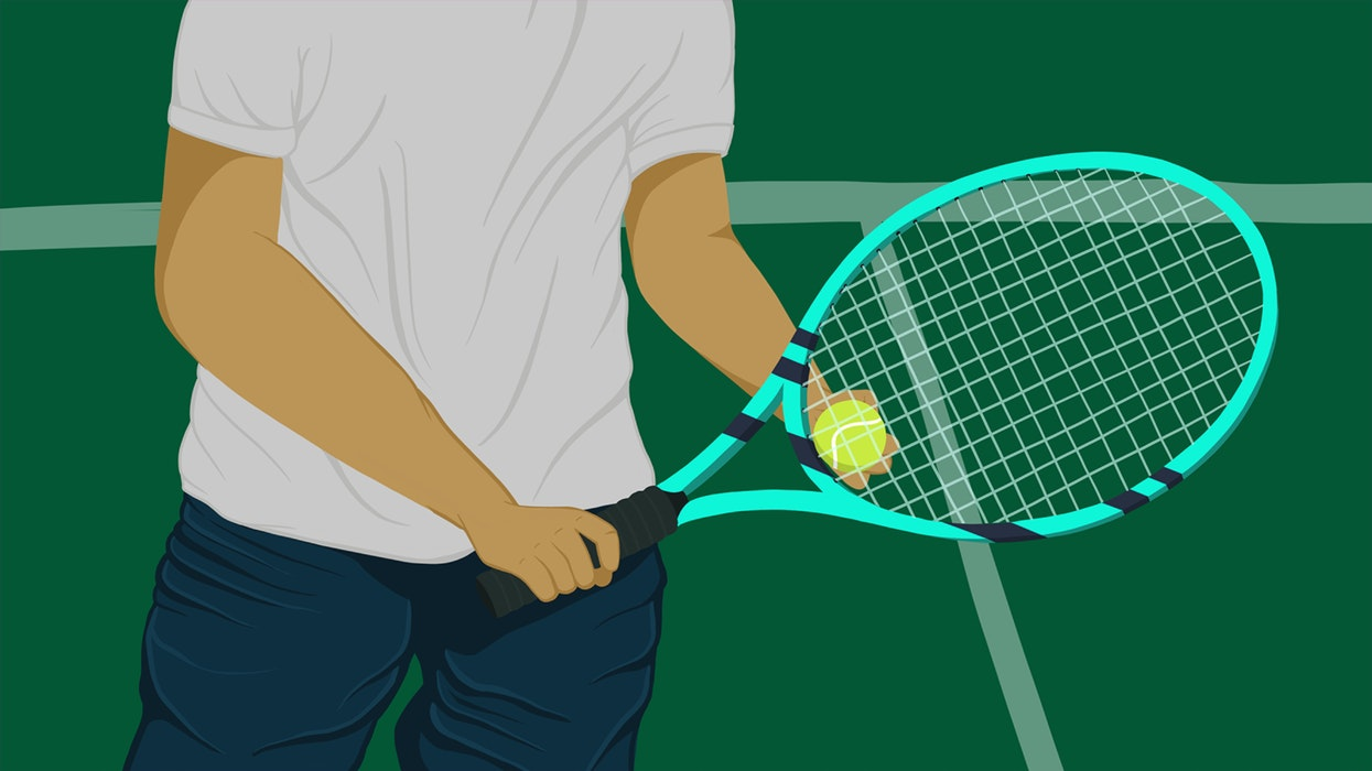 Person holding a tennis racquet and tennis ball