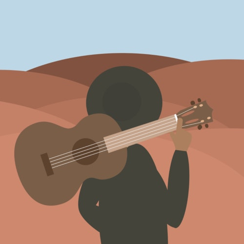 Person staring at the horizon with a guitar over their shoulder