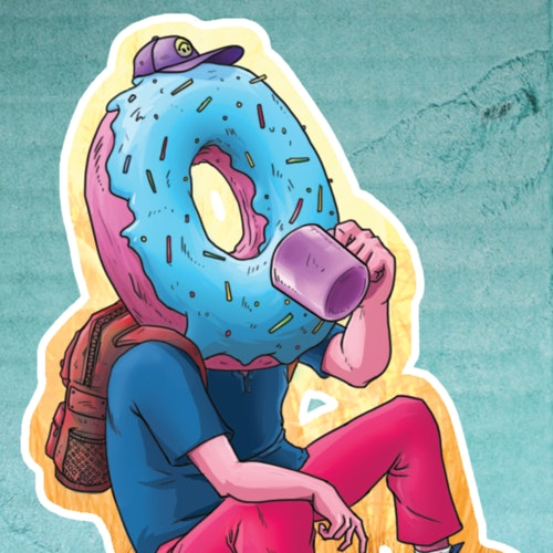 Person with a donut head drinking a cup of coffee
